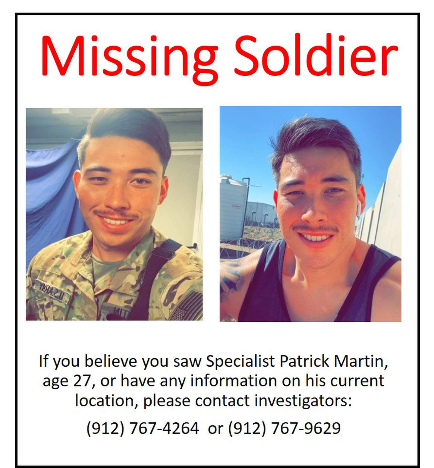 Flyer for missing Army Specialist Patrick Martin